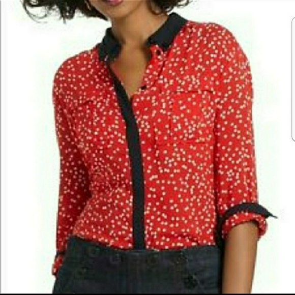 952467fa57a96 Anthropologie Tops - Anthropologie Maeve Red Polka Dot Blouse